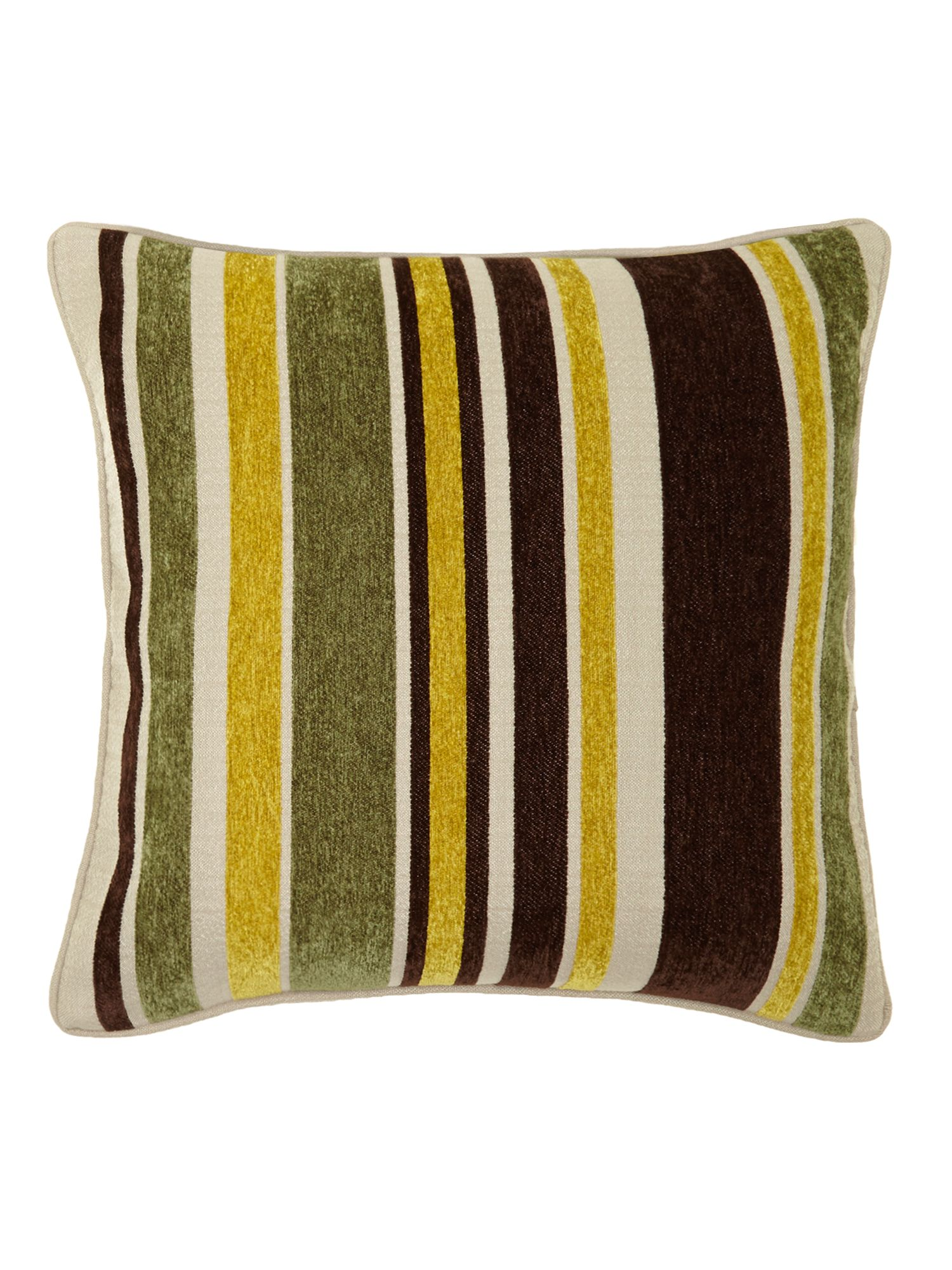 Lime striped chenille cushion
