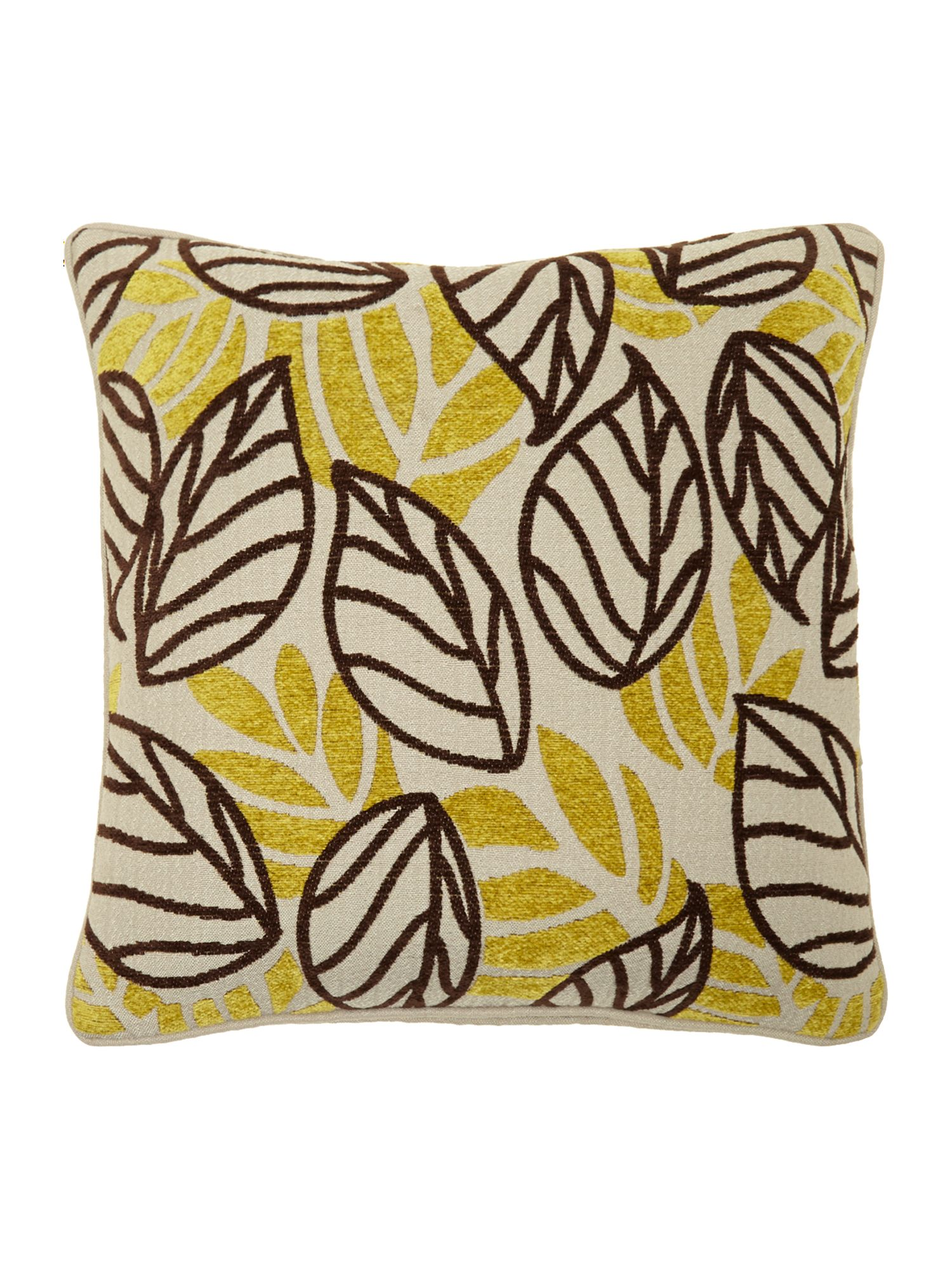 Lime leaf chenille cushion