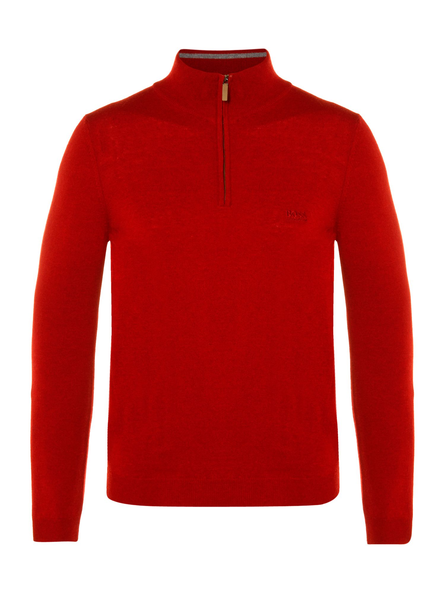 Three quarter zip lambswool logo knit