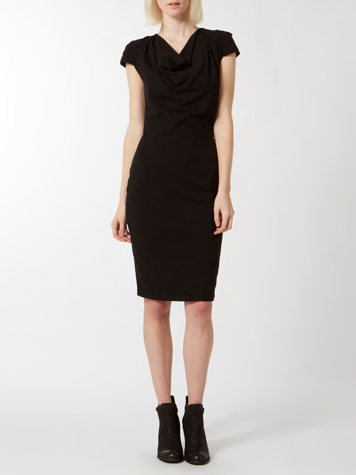 Cowl neck knee length dress
