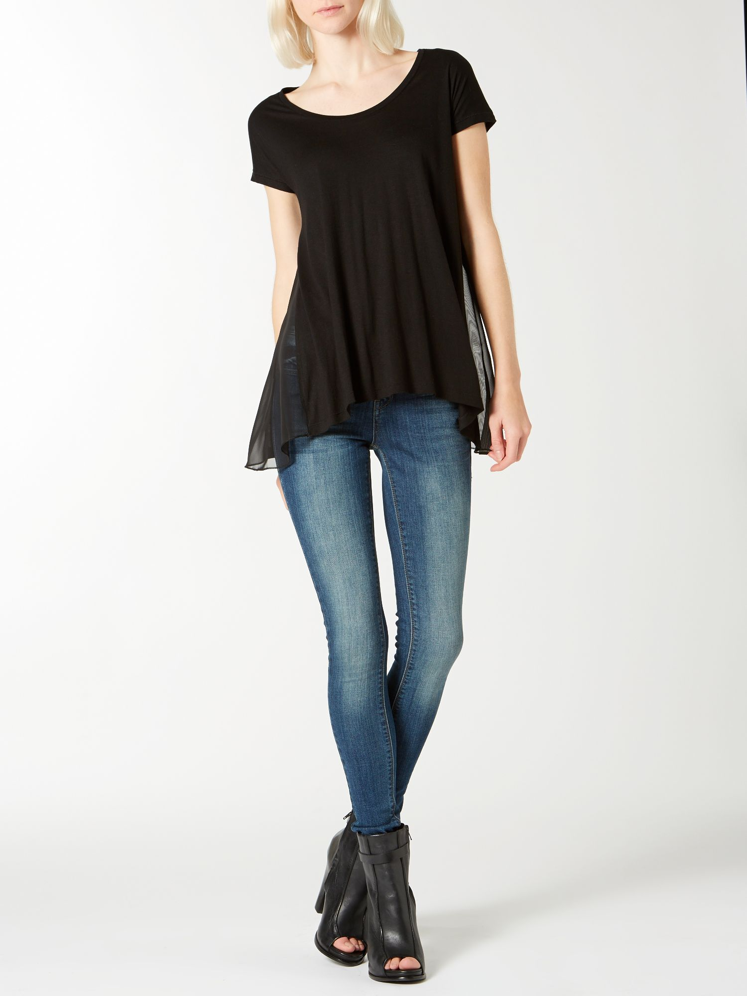 Chiffon mix swing tee