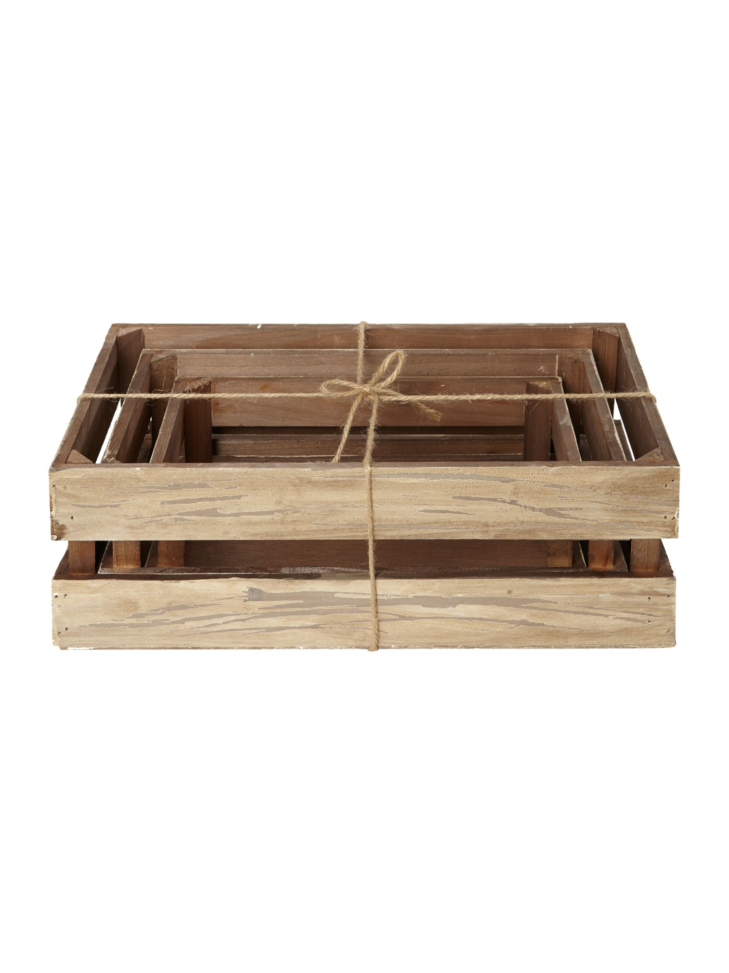 Set of 3 wooden crates