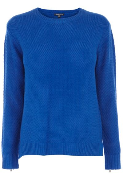 Warehouse Tuck stitch zip cuff jumper
