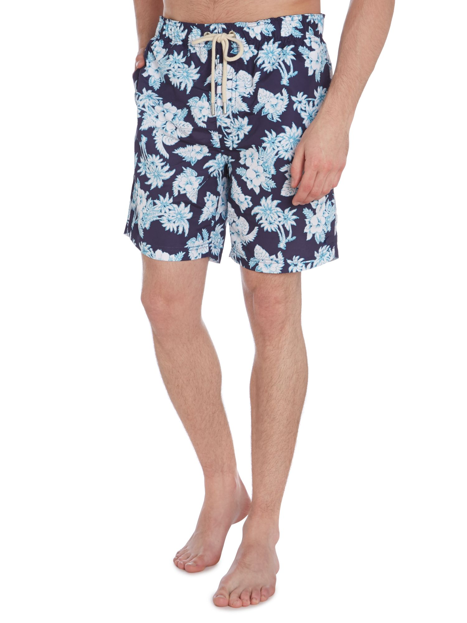 Hibiscus print swim short