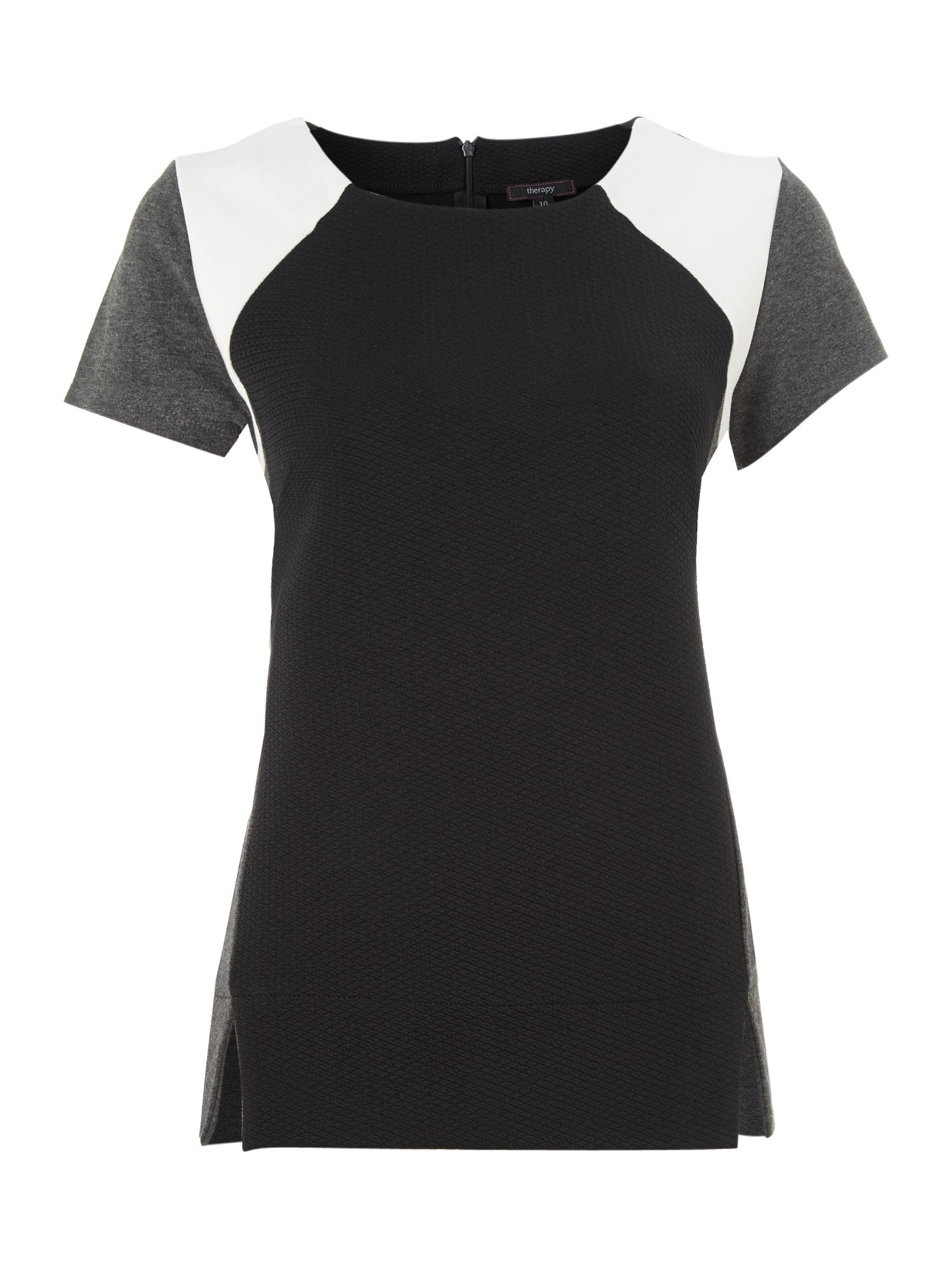 Short Sleeve Colour Block Textured Top