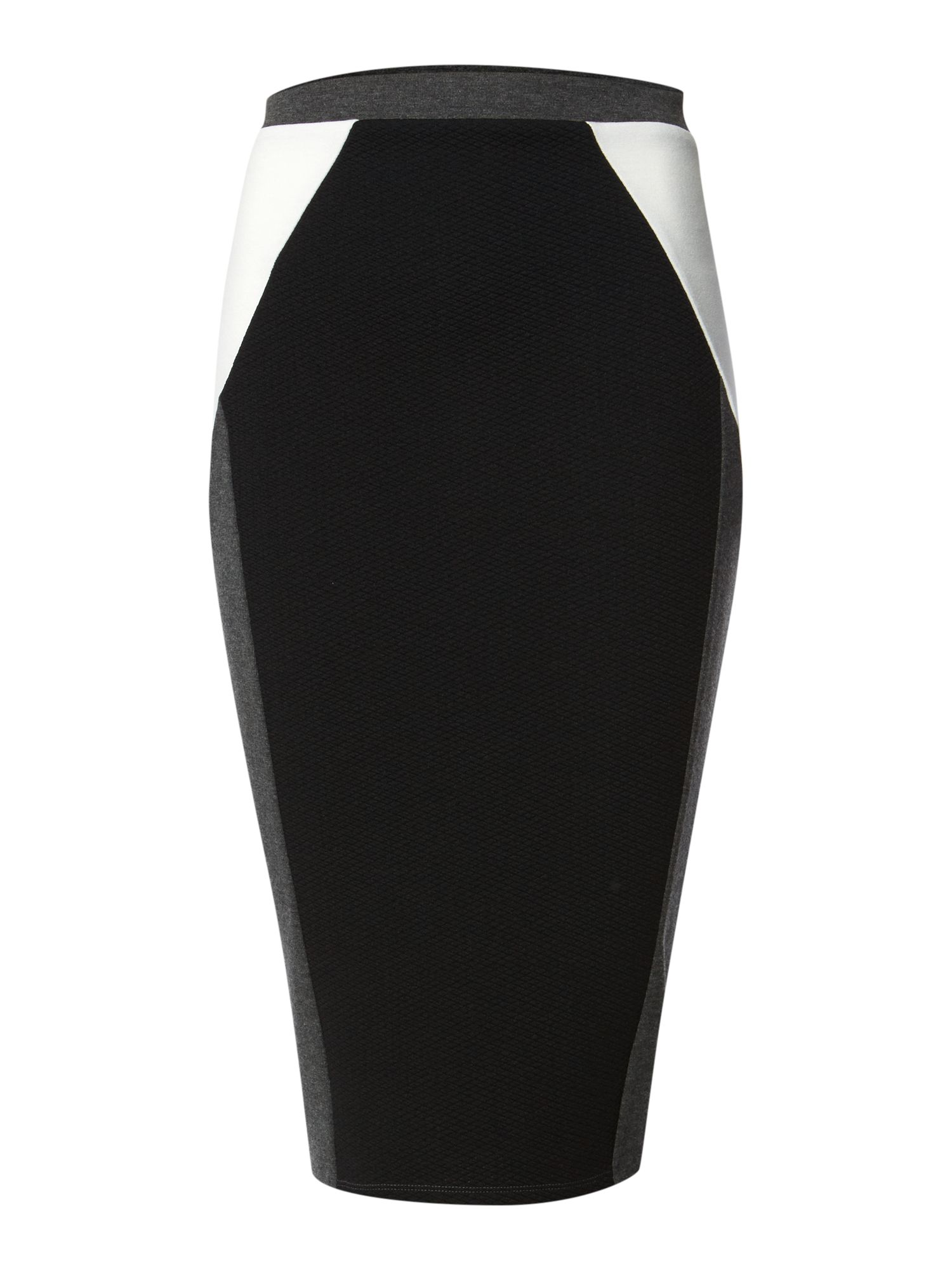 Colour block knee length textured skirt