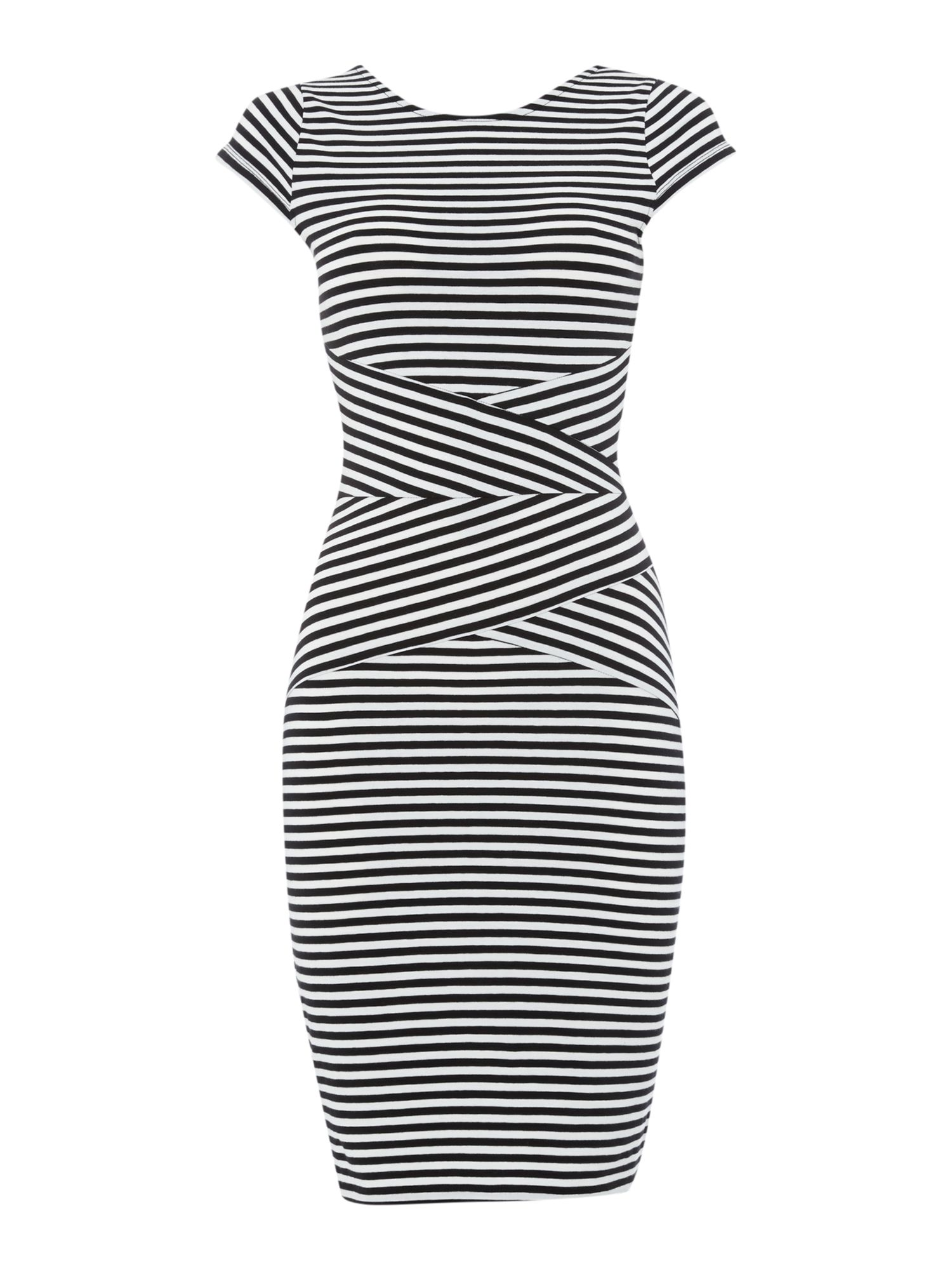 Stripe bodycon tube jersey dress