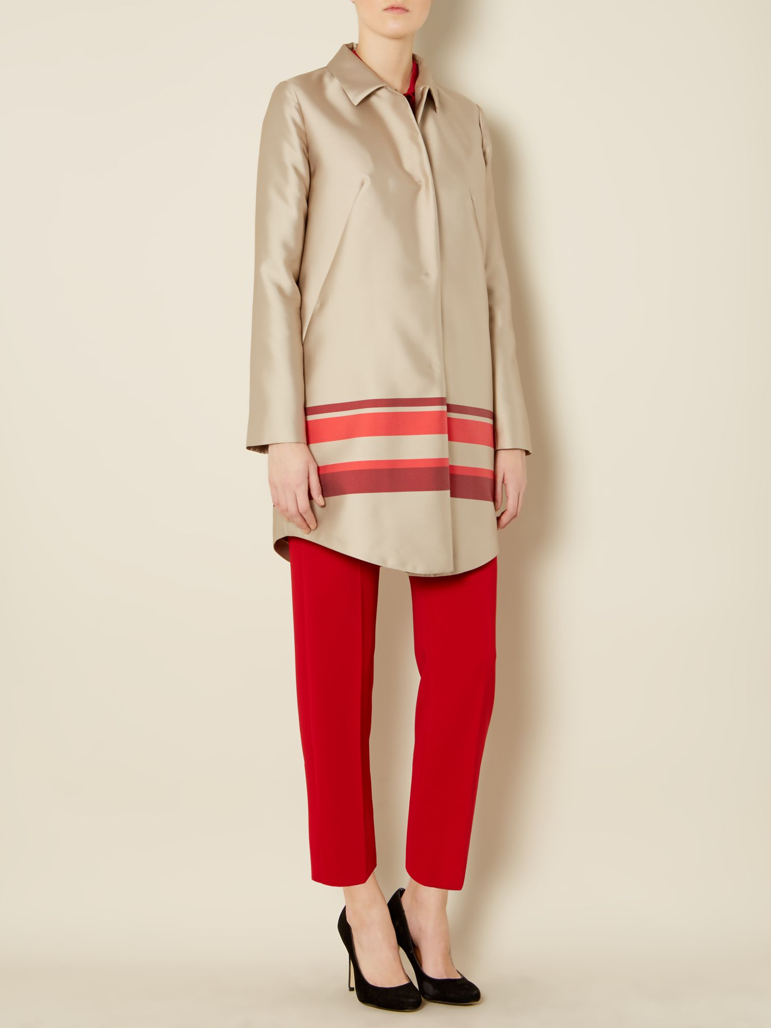 Clavier long sleeved coat with stripe detail