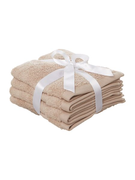 Luxury Hotel Collection Face Cloth in Mushroom (Set of 4)