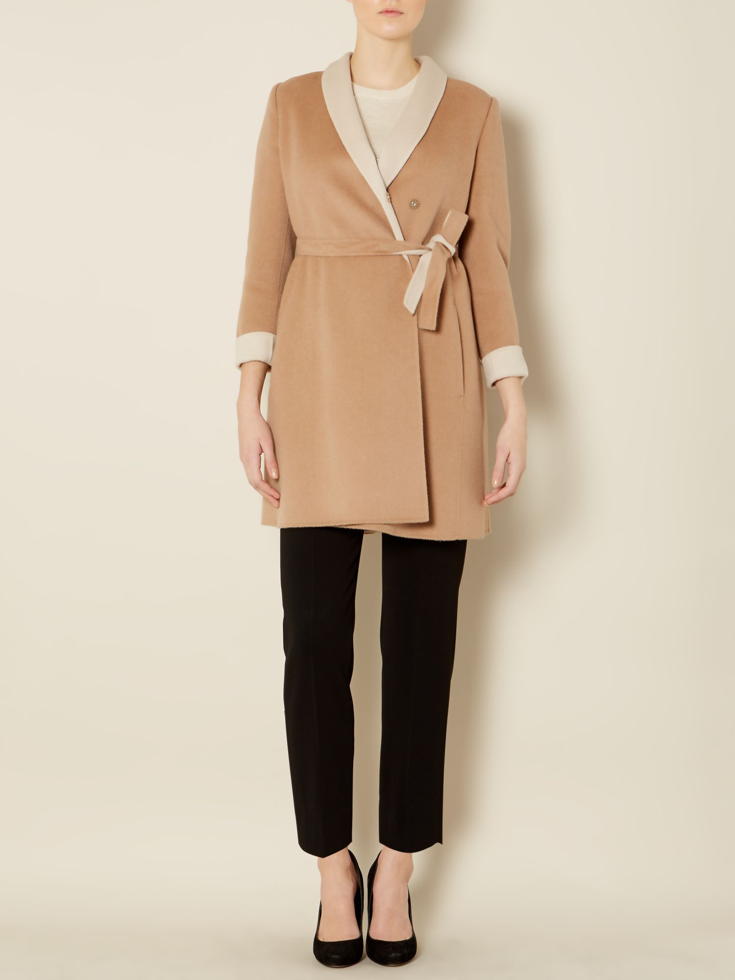 Sabadel long sleeved double faced wool coat