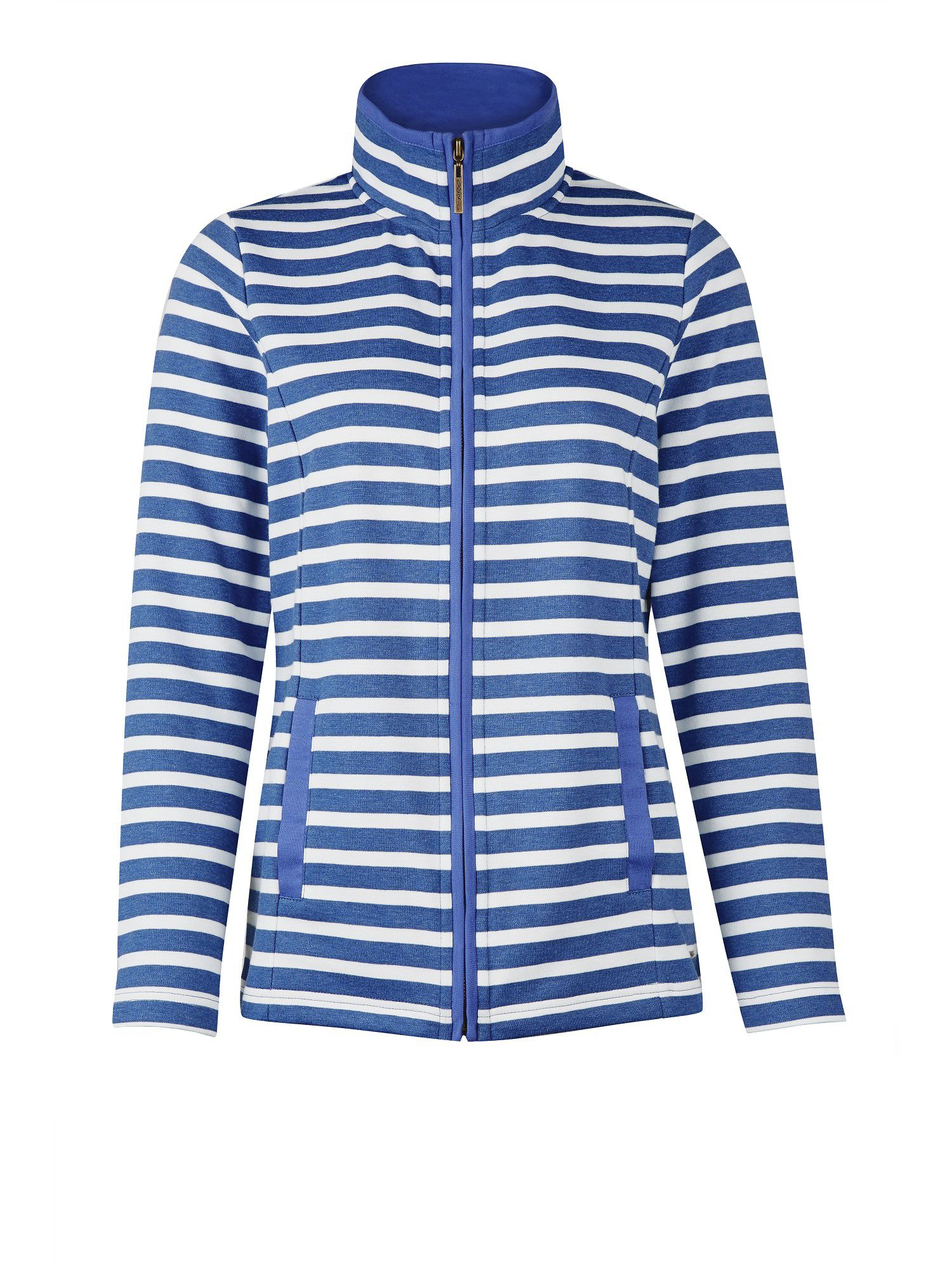 Blue and cream stripe rib jacket