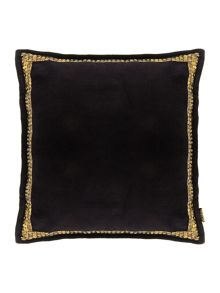 Black velvet studded cushion