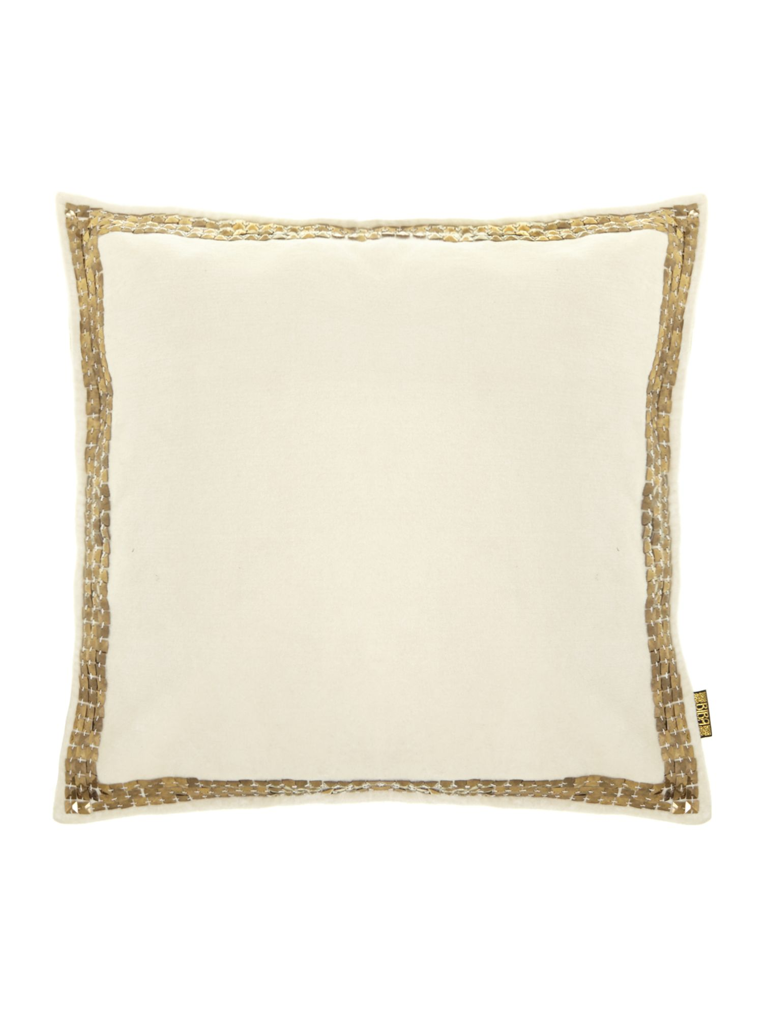 Cream velvet studded cushion