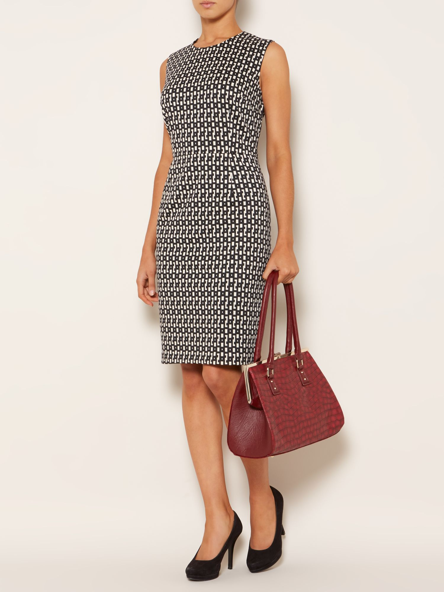 Geo print ponte shift dress