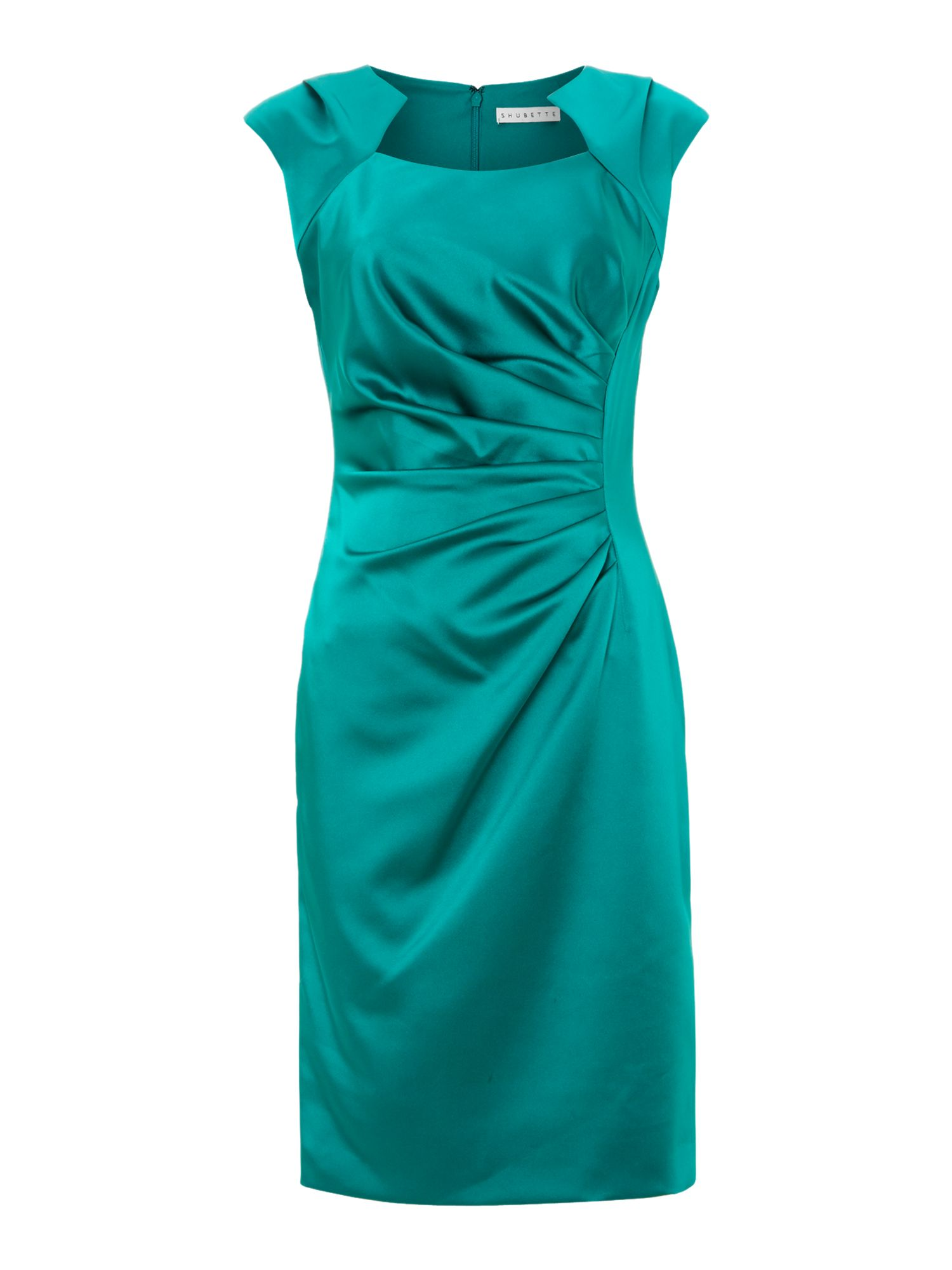 Shubette Side pleated satin dress, Jade