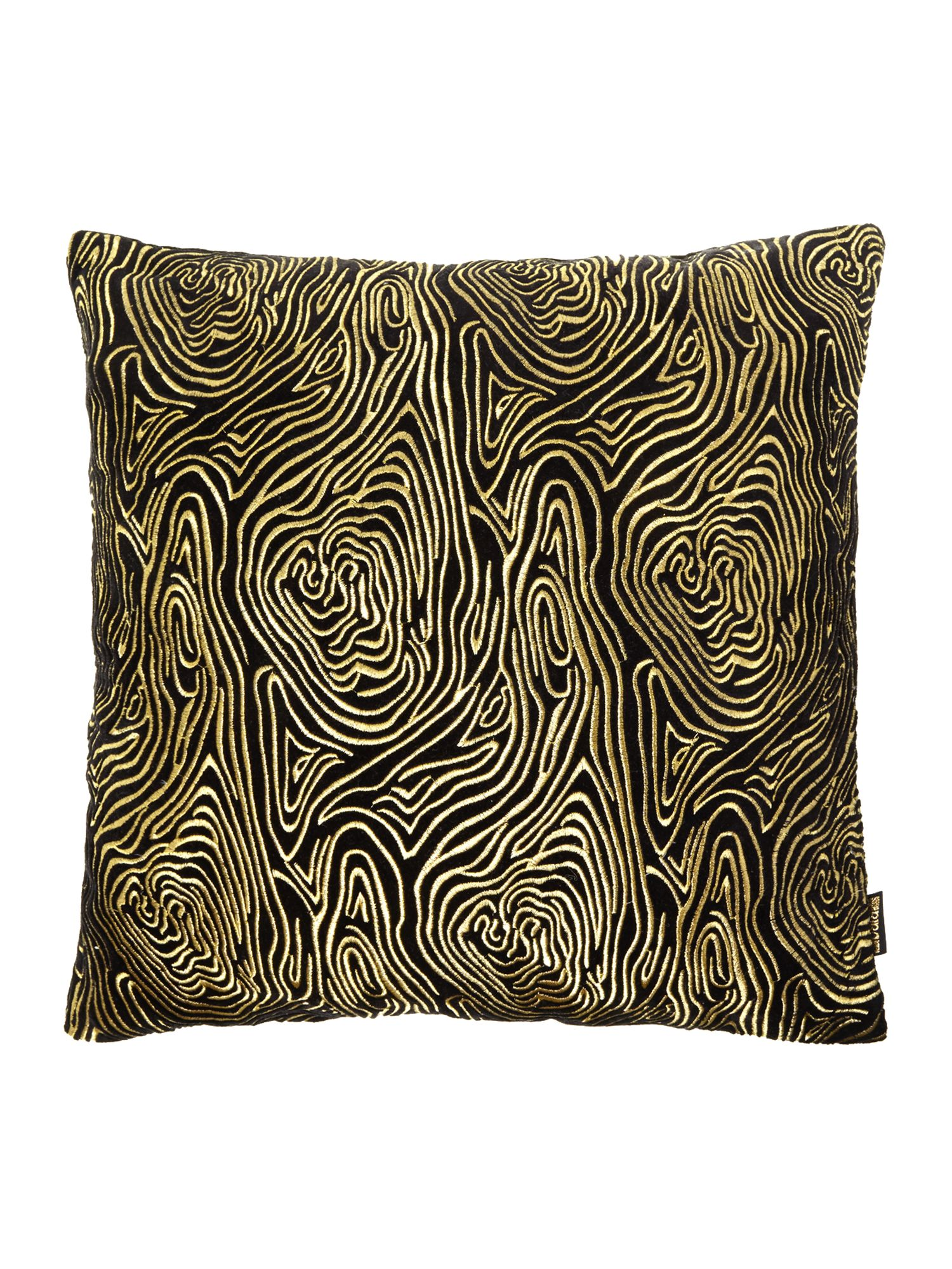 Black swirl embroided cushion