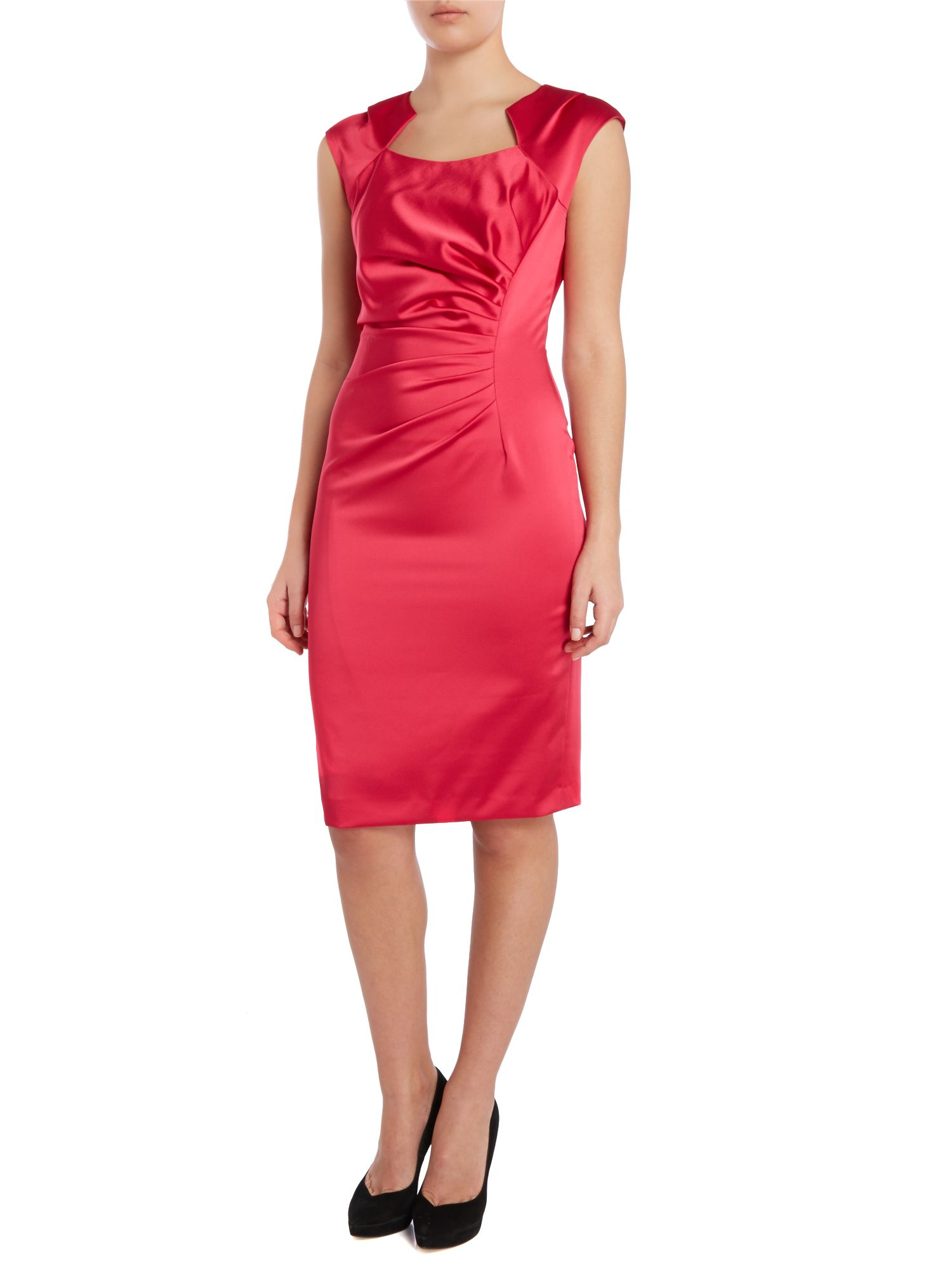 Side pleated satin dress