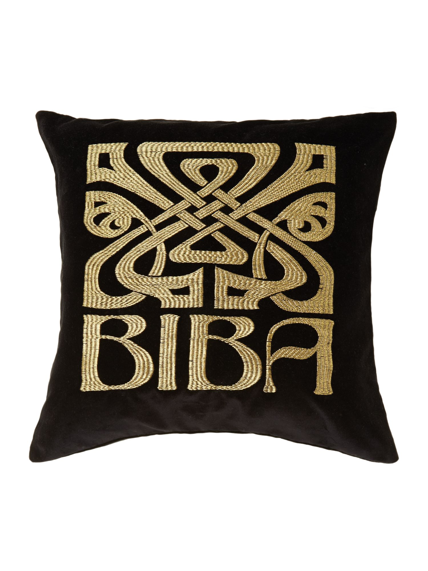 Black velvet Biba logo cushion