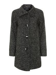 Tweed funnel neck coat