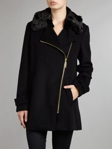 Zip Up Coat With Faux Fur Collar
