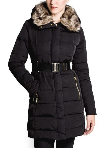 Mango Belted down feather long coat