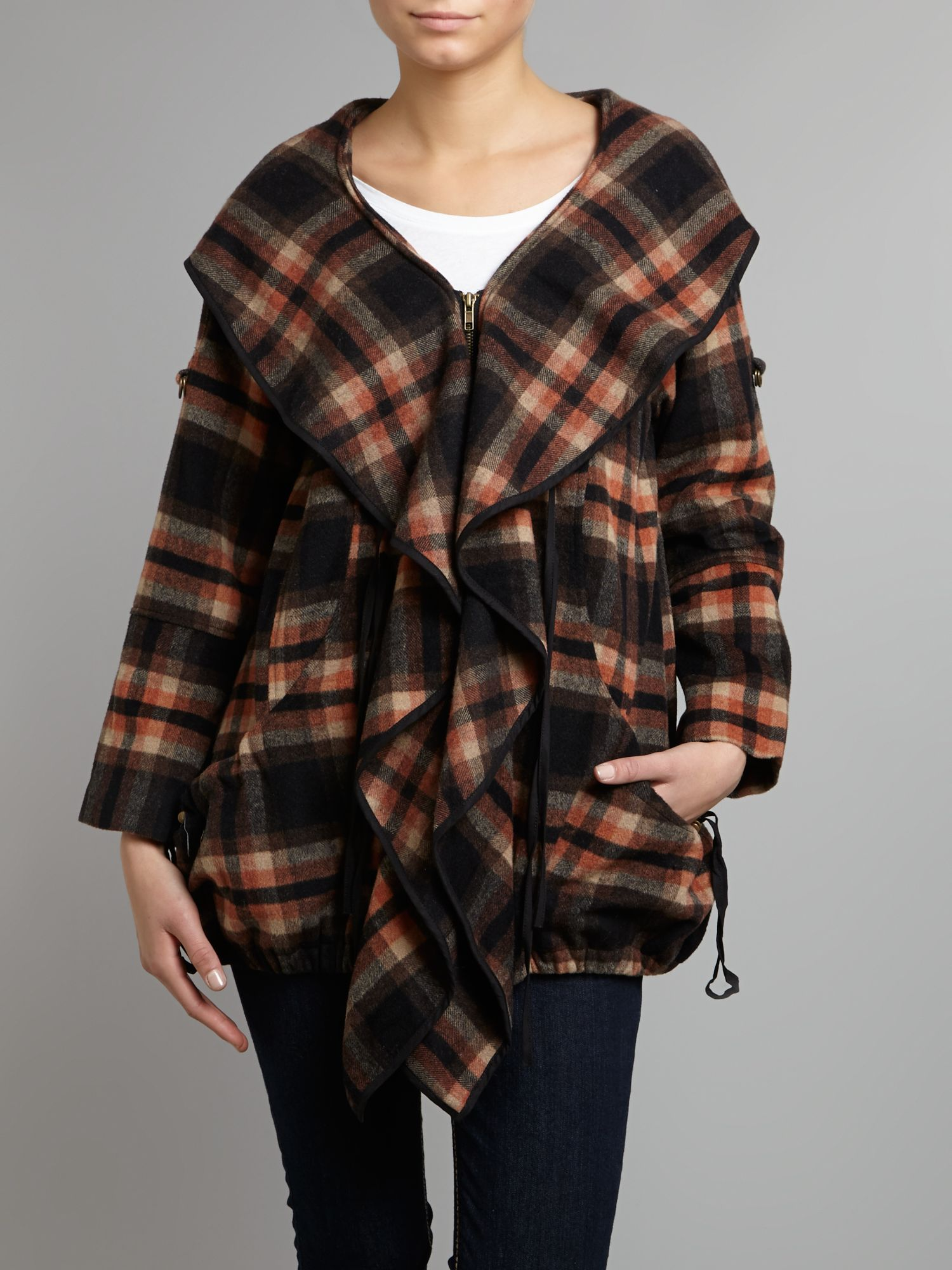 Checked frill front coat