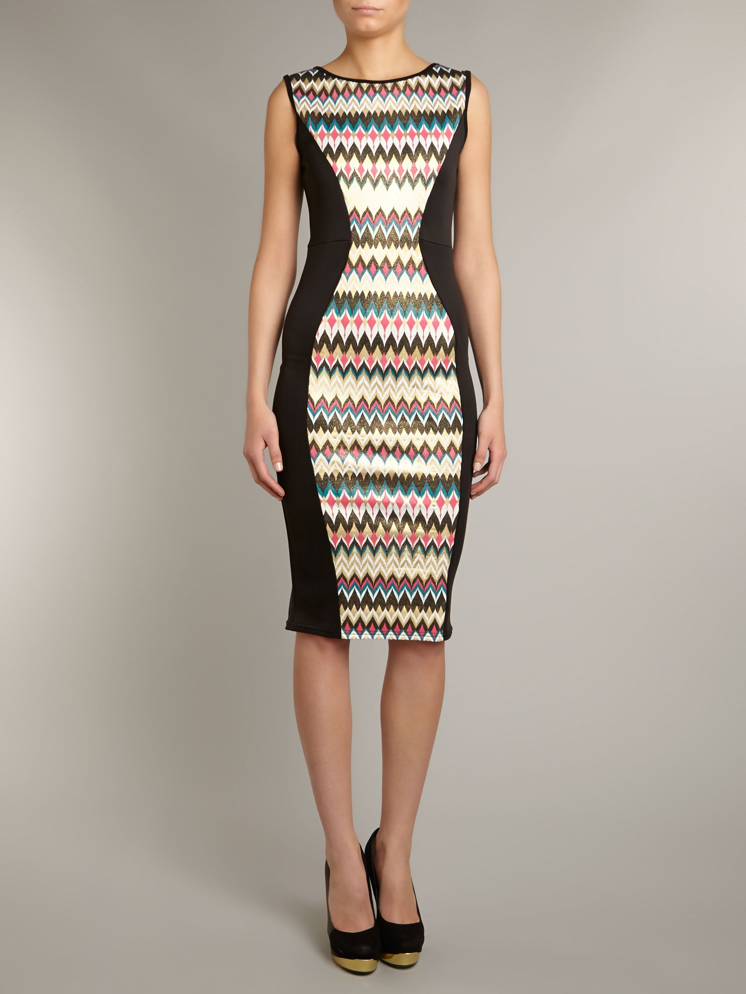 Wave pattern insert dress