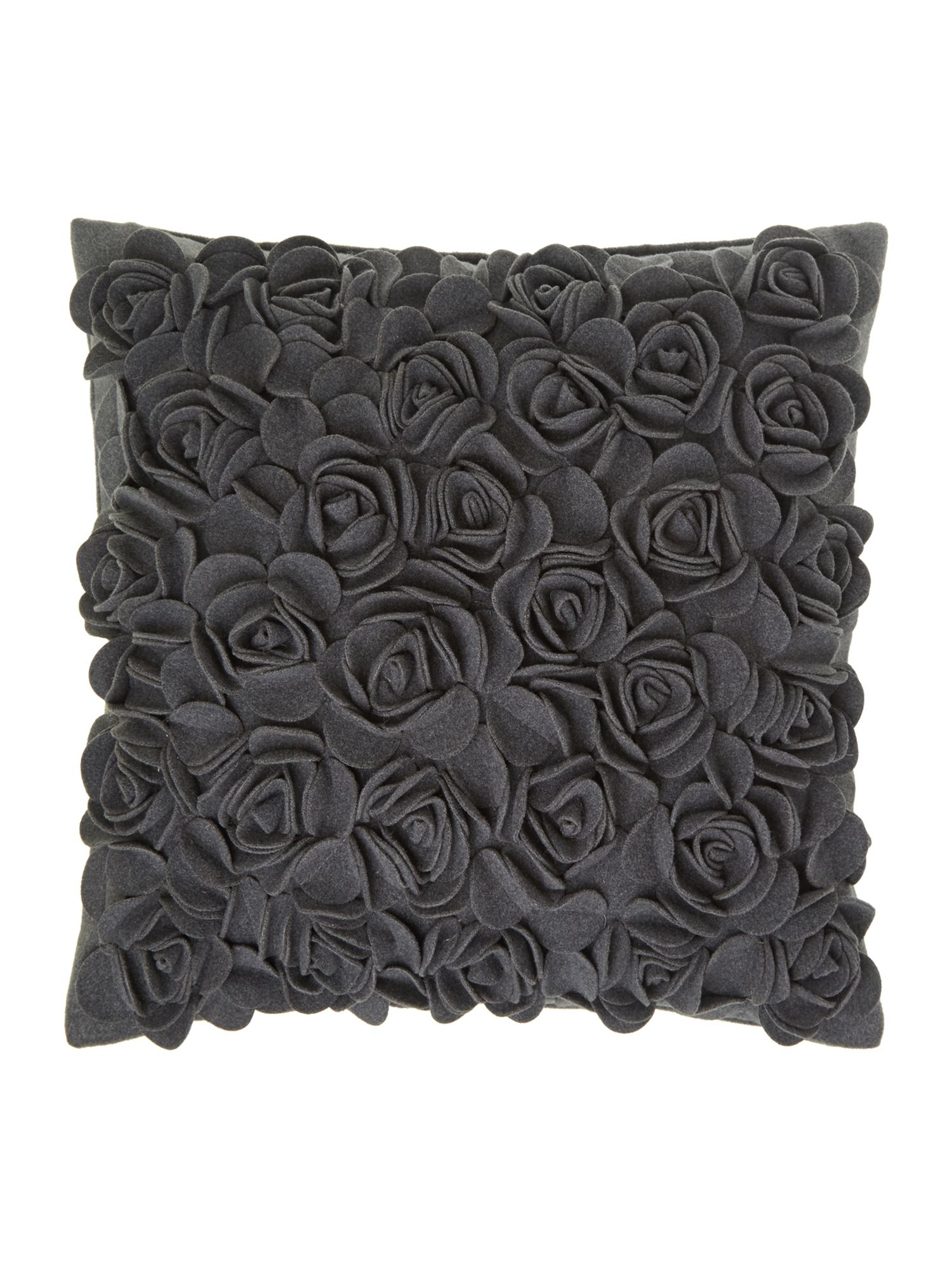Dark grey rose felt cushion