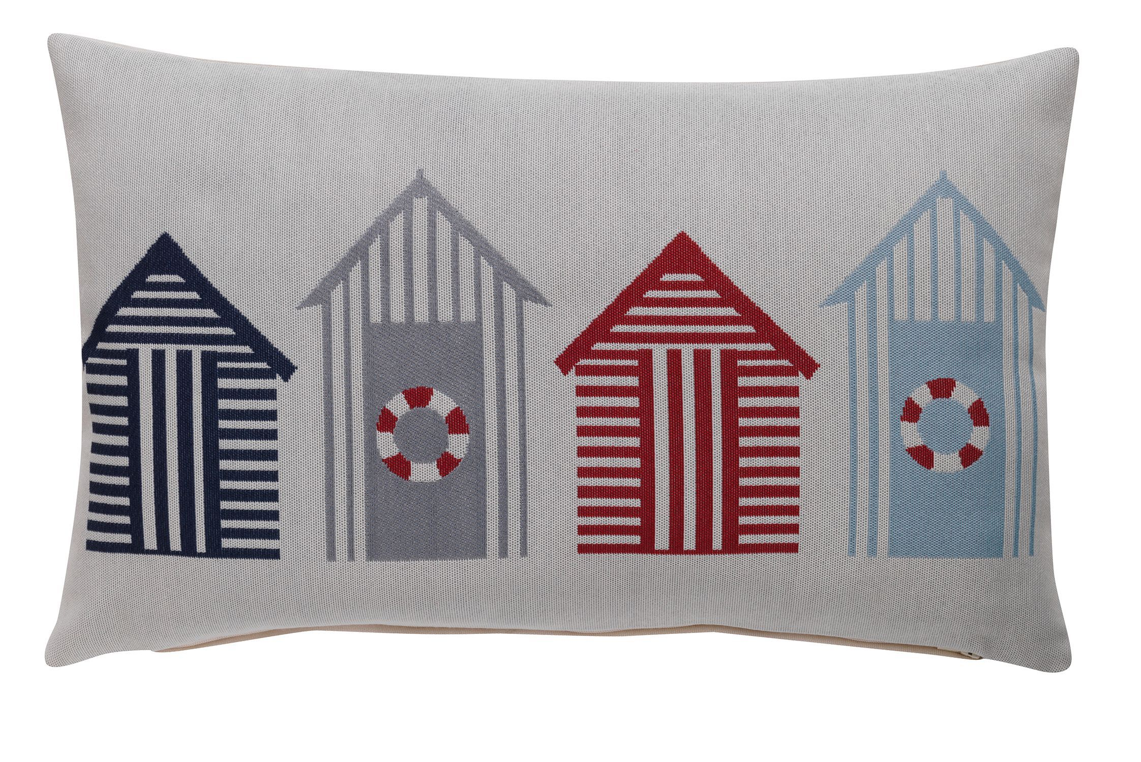 Jacquard beach huts cushion