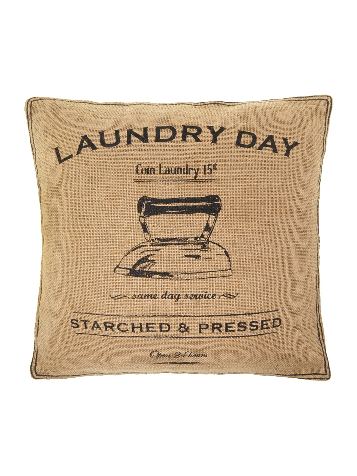 Vintage laundry advert cushion