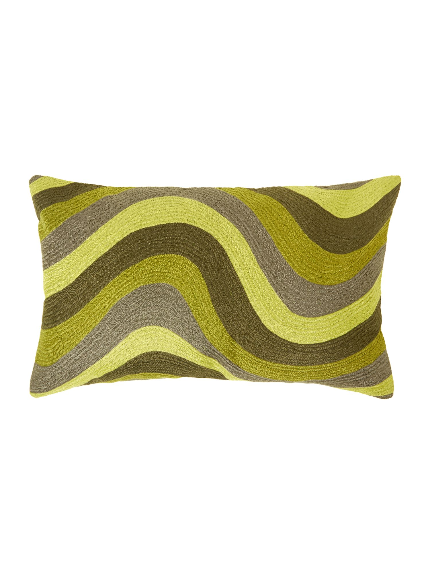 Green crewel cushion