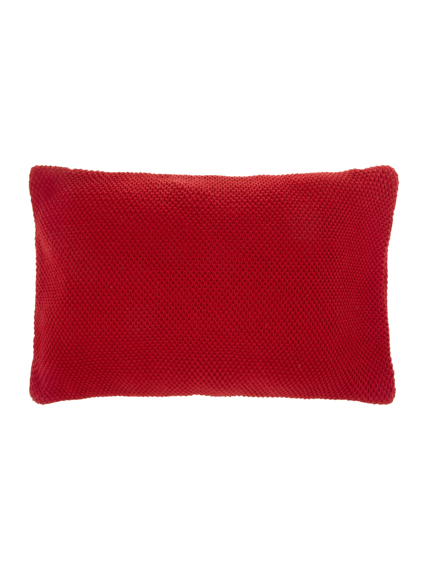 Red knitted cushion