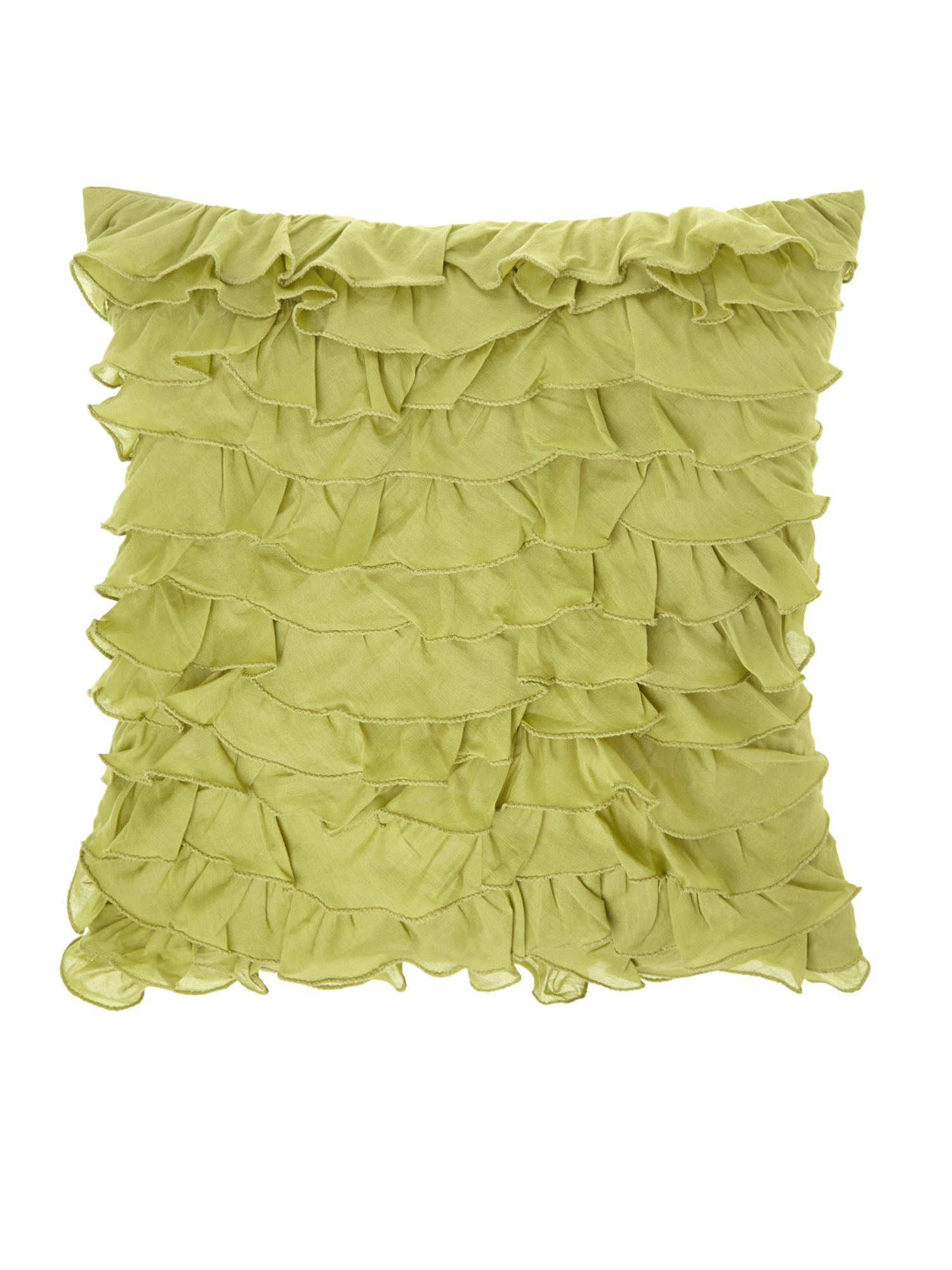 Green linen ruffle cushion