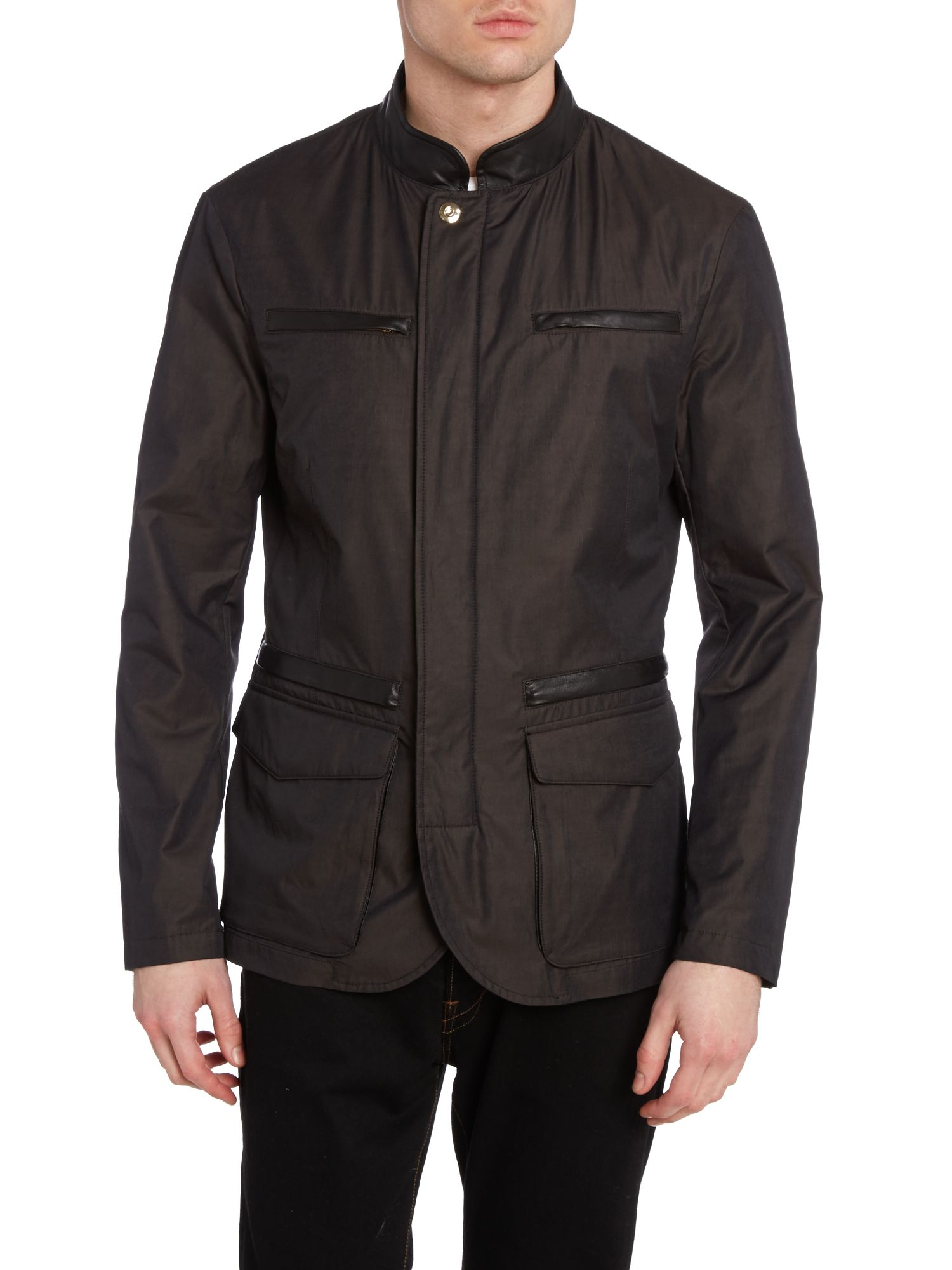Four pocket leather trim coat