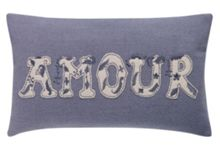 Amour felt embroider cushion