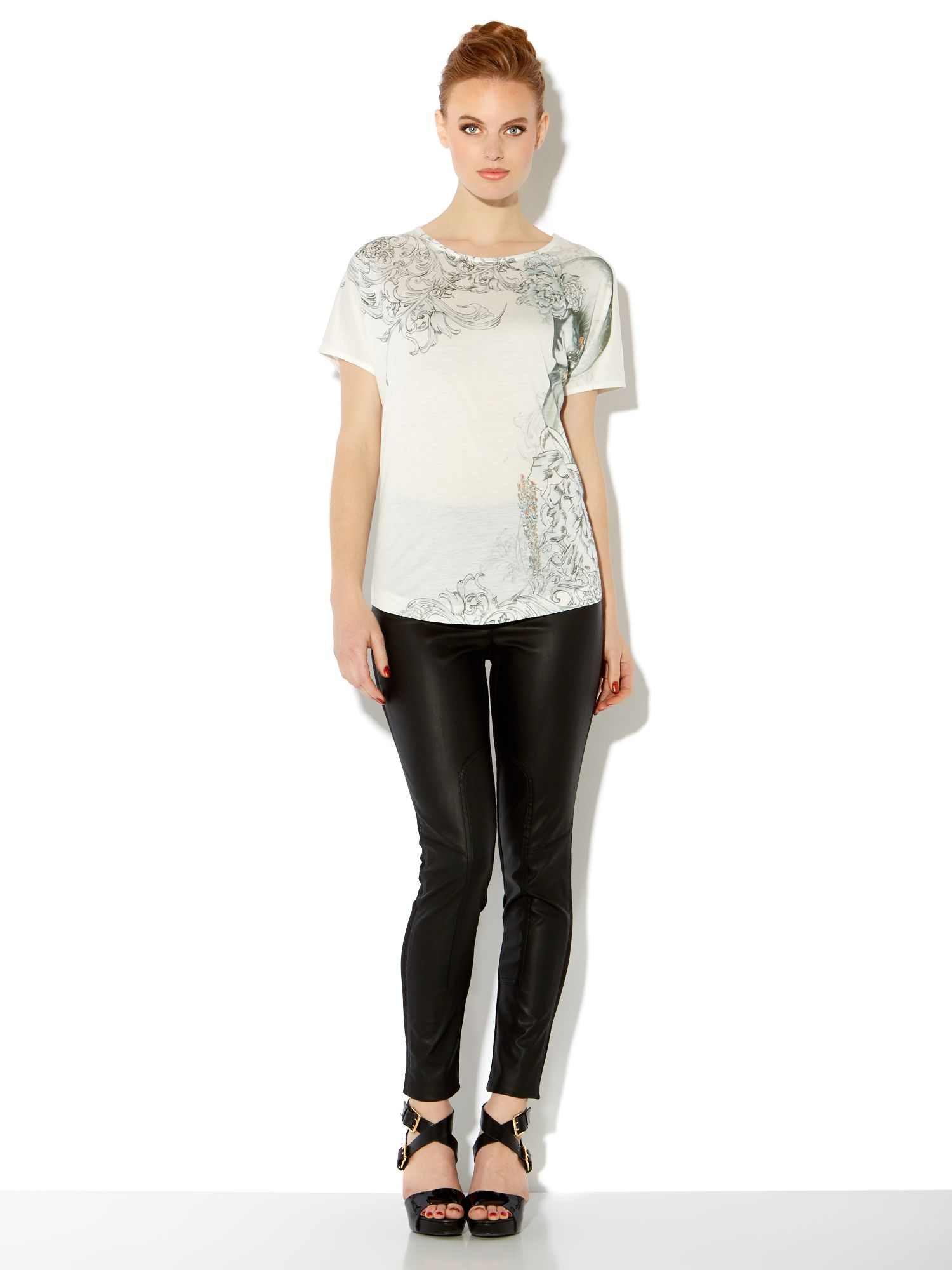 Faux leather & stretch panelled jeggings
