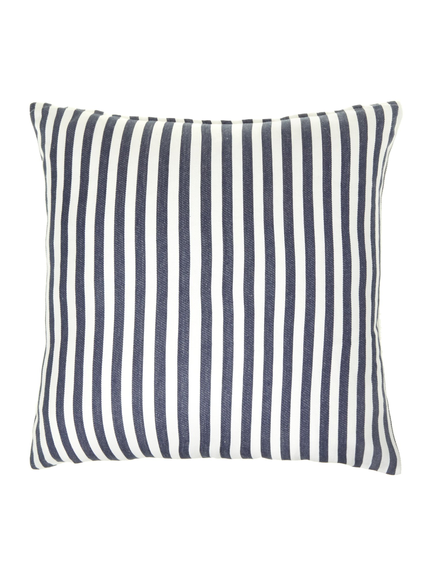 Navy woven stripe cushion