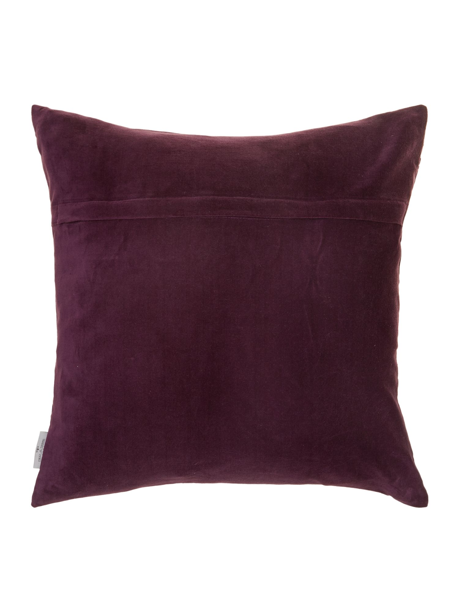 Digital leaf print cushion, purple