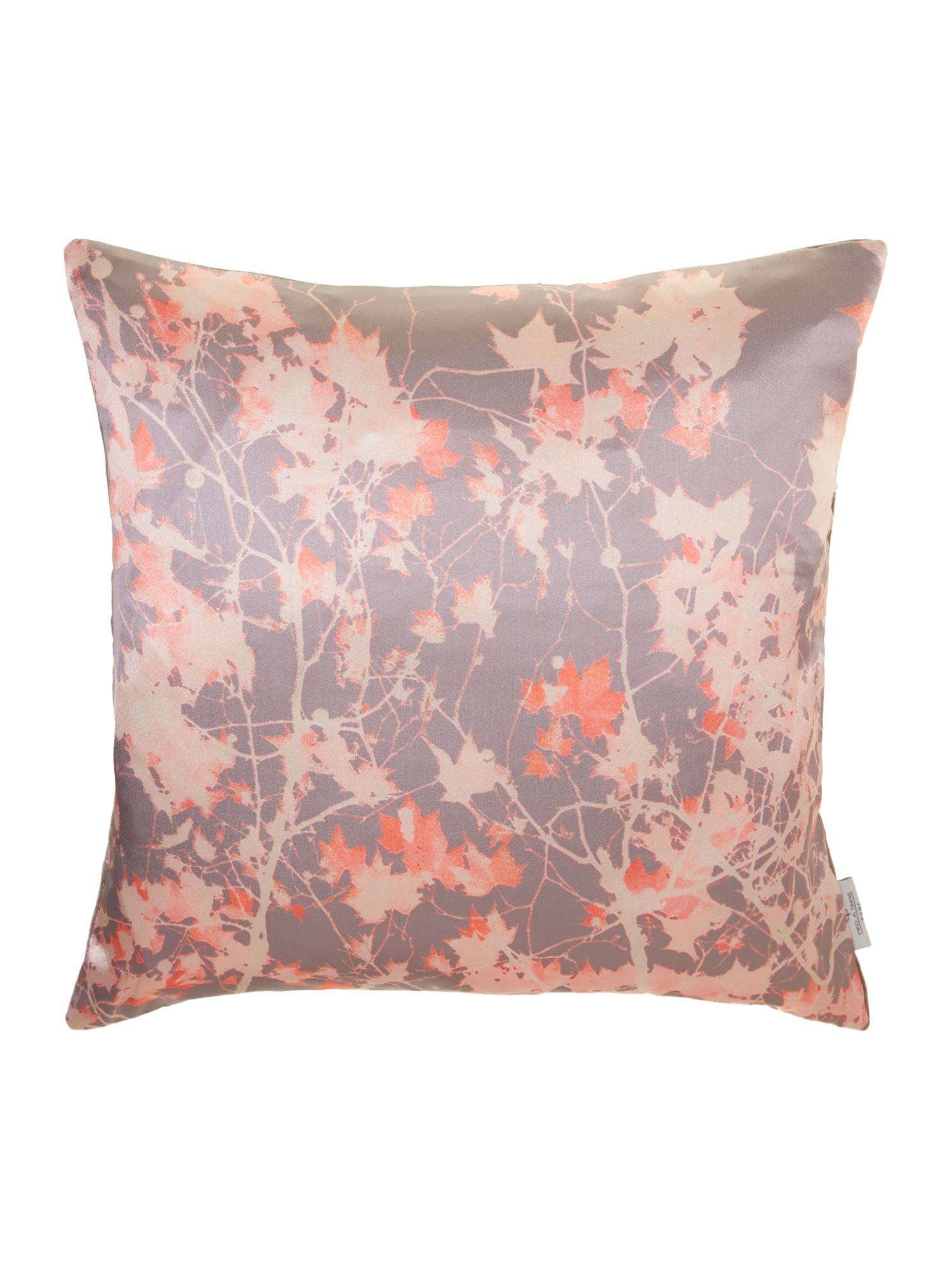 Digital print leaf cushion, coral