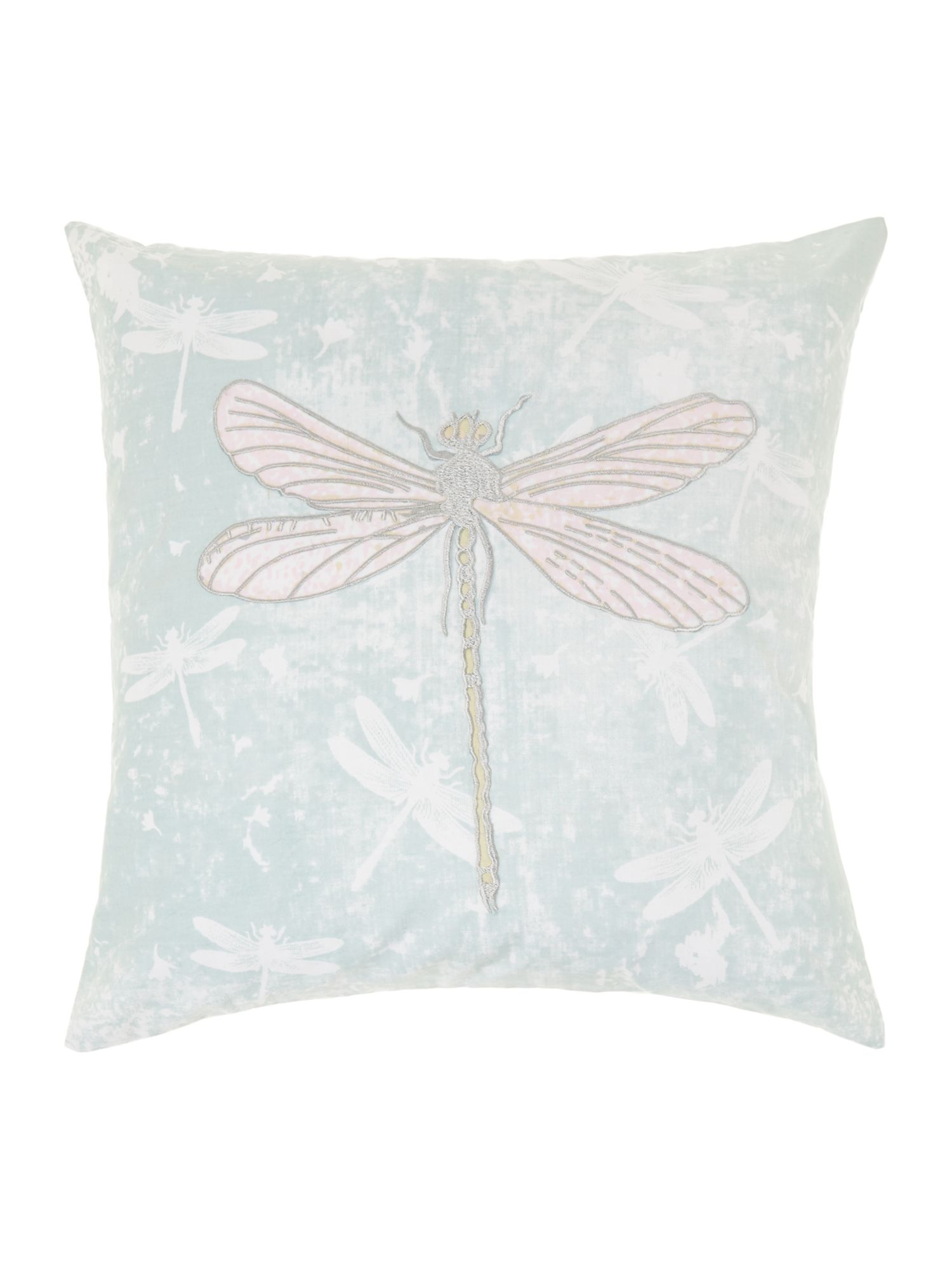 Embroidered dragonflies cushion