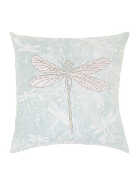 Linea Embroidered dragonflies cushion