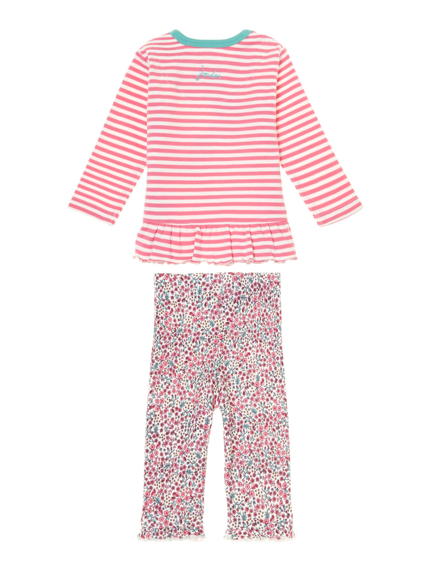 Girl`s dog print top and legging set