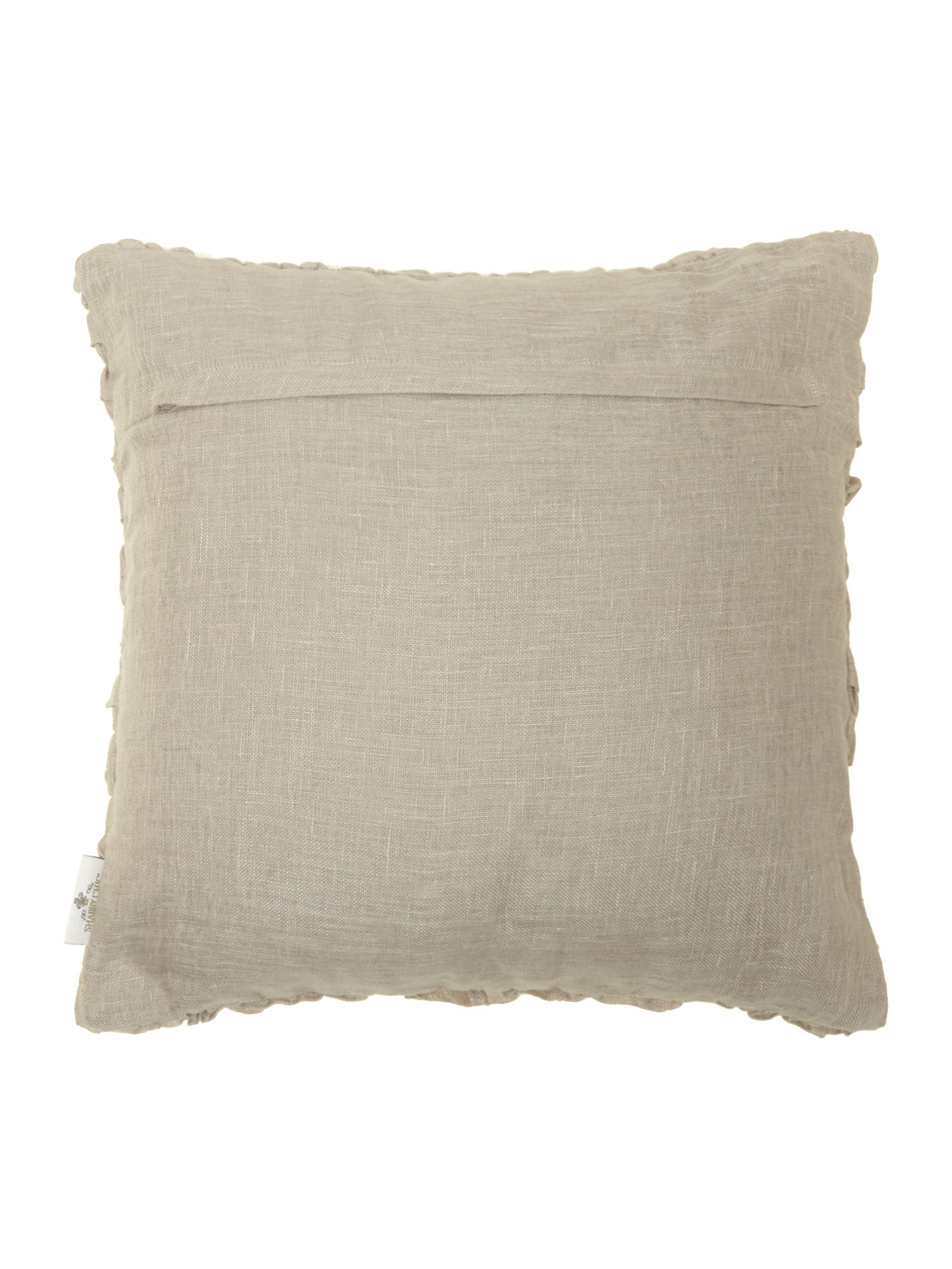 Grey linen ruffle cushion