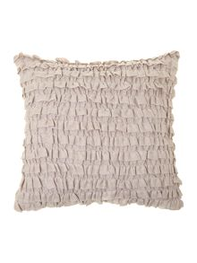 Blush linen ruffle cushion