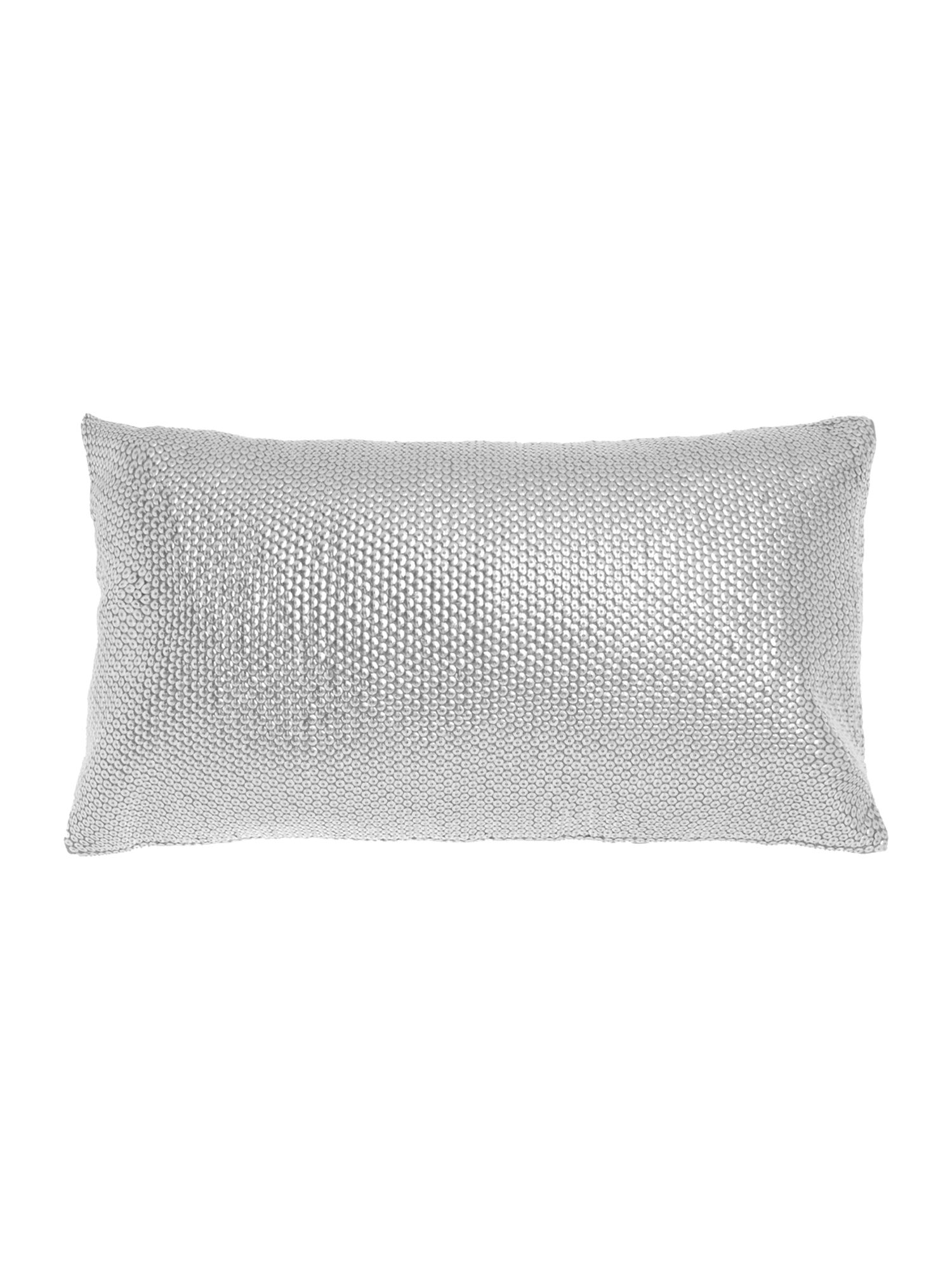 Silver sequin cushion