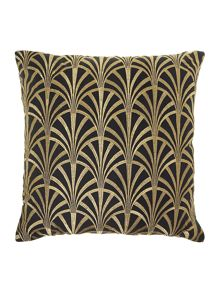 Fan embroidered cushion, black