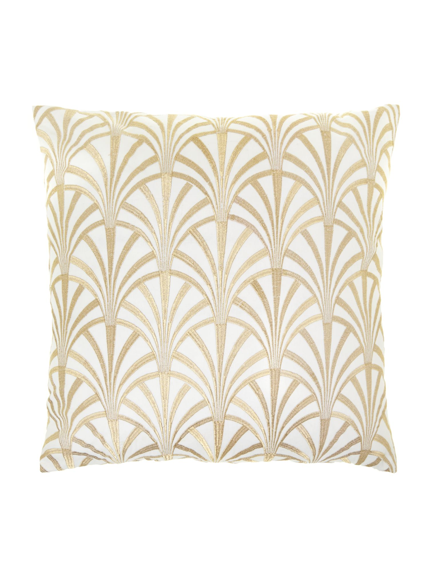 Fan embroidered cushion, cream
