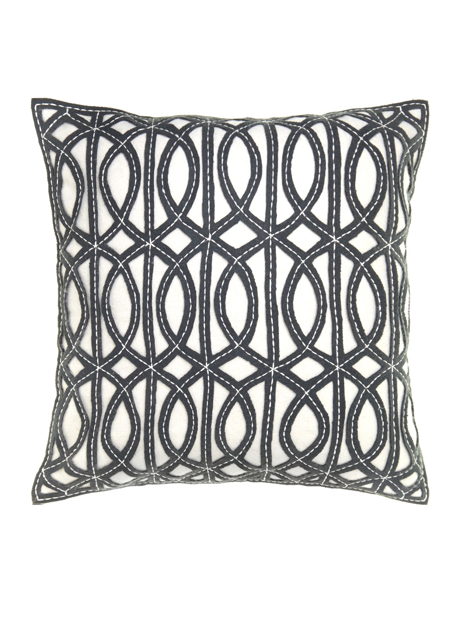 Grey maze design felt cushion