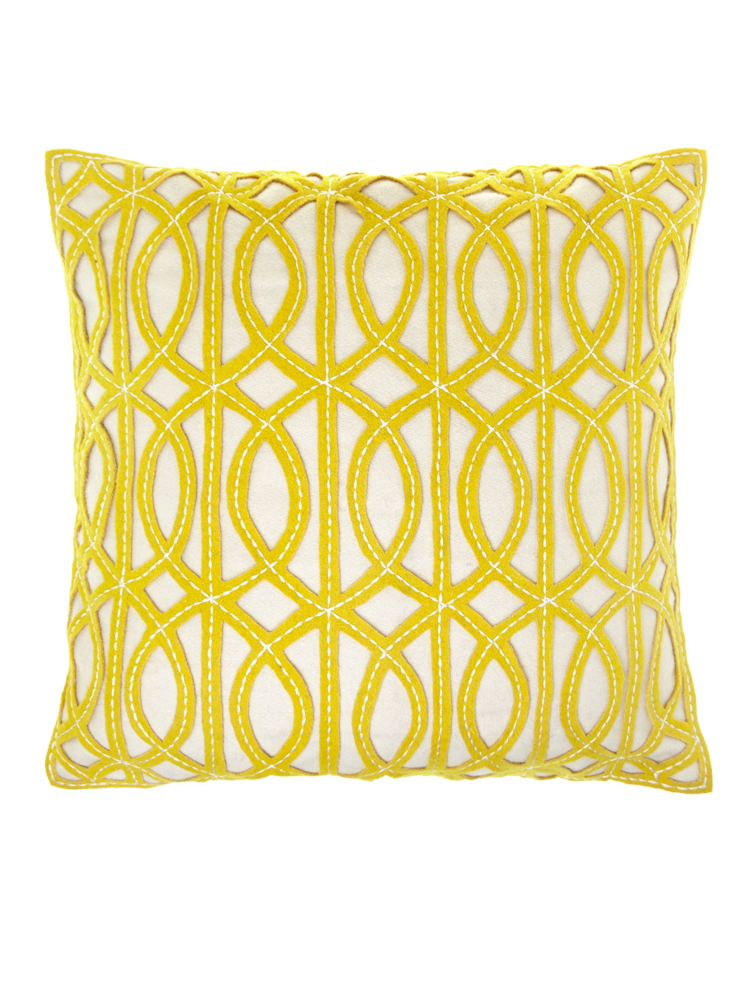 Chartreuse maze design felt cushion