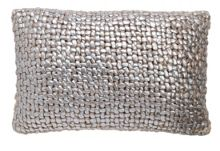 Silver chunky knit cushion